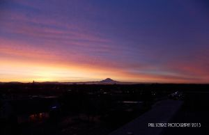 Sunrise and Mt. Rainer #1 by SilentMobster42