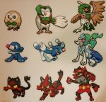 Pokemon Sun Moon Starters and Evolutions Perlers by jrfromdallas