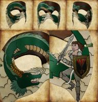 The Dragon and The Knight Leather Mask by ContessaEsselia
