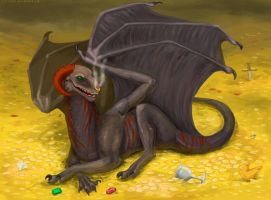 Dragon on the gold by R-r-ricko
