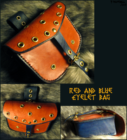 Red and Blue Eyelet Bag by TheScreamingNorth