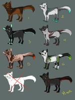 .:Wolves adoptables 13:. [CLOSE] by O-Shana