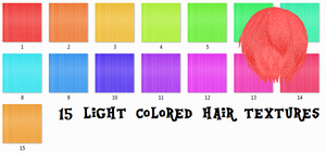 MMD 15 Light Color Hair Texture Pack by Icon-Comission