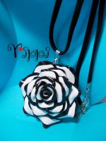 Black and White Necklace Rose by sandygrimm2000