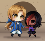 Chibi Roman and Juli by MoonlightTheWolf