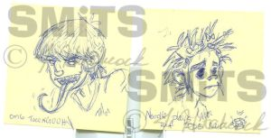 Post-It Art: Murdoc and 2D by Smitkins