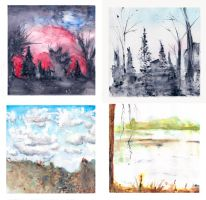 WaterColor Landscapes by The-Emerald-Dragon