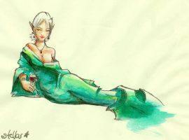 Lounging- watercolor by stellar-wanderings