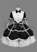 Bowknot Cotton Black and White Gothic Lolita Dress by haluson