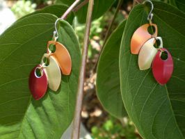 Scale Earrings in Fall Colors by Silkyprime