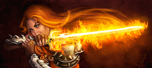 Flaming sword by DragonsTrace