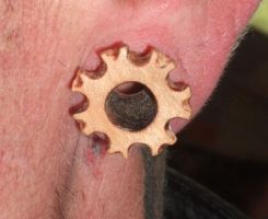 Wooden cog earring by Shoshannah84