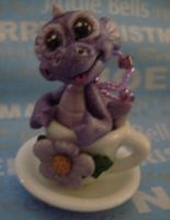 polymer tea cup dragon violet by crazylittlecritters