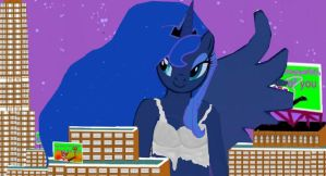 How to make colossal alien Luna happy by OceanRailroader