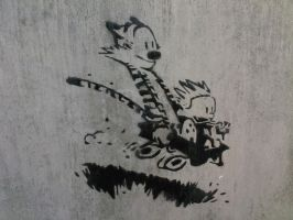 Calvin and Hobbes stencil by simpsonsguy14