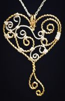 Valentine's Day filigree pendant by ClaireKincaid