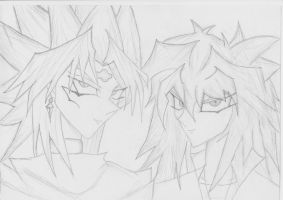 Yami Marik with Bakura by generalpiggums