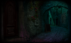 Digital  Matte Painting Back Alley at Night by HM1art