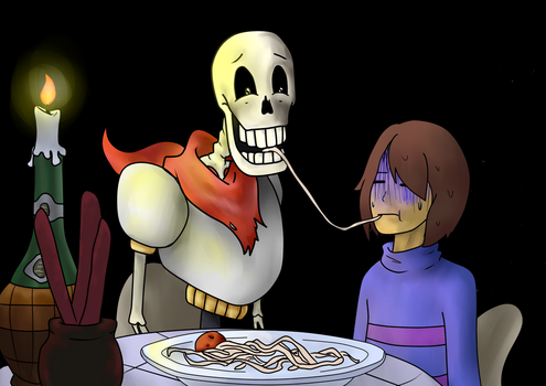Frisk x Papyrus Lady and the Tramp reference by Toodlenoodle