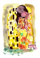 Marceline and Princess Bubblegum as The Kiss by Tsubasa-No-Kami