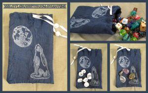 Moongazing Hare Pouch for Tarot, Dice, Runes etc. by ImogenSmid