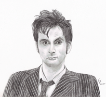10th Doctor Portrait by ThePeculiarMissE