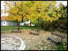 Park in autumn by Ph1at1ine