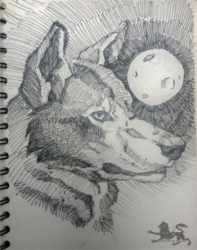Wolf and Crooked Moon by lupodirosso