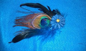 Spring Feathers and Flowers Hair Barrette by Tray-kun