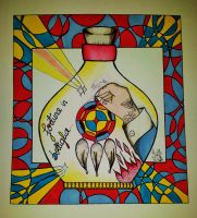 lucky in bottle canvas by ShellyZTrueheartInk