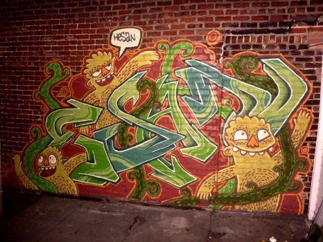 Brick Wall Jungle Graffiti by YvesParadis