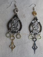 Steampunk Mayan Earrings by SacredJourneyDesigns