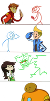 Dick Figures and Bravest Warriors by ChibiGuardianAngel