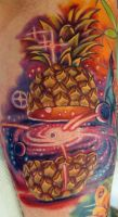 Cosmic Pineapple tattoo by Sean Ambrose by seanspoison