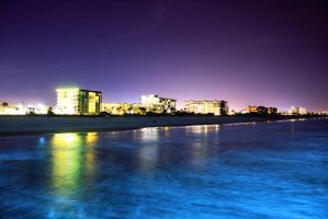 cocoa beach at night by gbarill