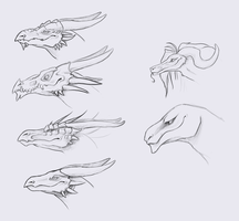 Dragon Heads by LimeGreenBean