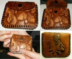 Ferret and Acorn Leather Pouch by Ellofayne