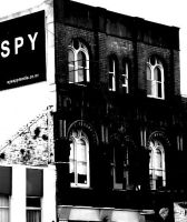 black and white building by SoraPyper