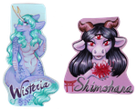 Shimo and Wisteria Badges by Mermaid-Kalo
