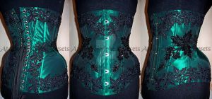 Green and black beaded corset by AtelierSylpheCorsets