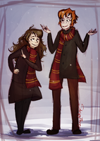 Ron and Hermione by purplesam