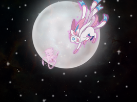 Sylveon and Mew by FallRiver