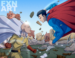 One Punch Man vs. Superman by FXNart