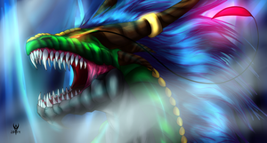 Ice Dragon Aren  Version 1 comic semi realistic by Arenthor
