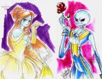 Beauty and the skellington sketch by selene-nightmare69