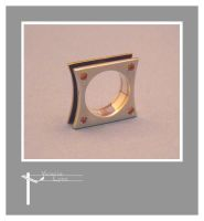 Bead set square ring by SongBird55