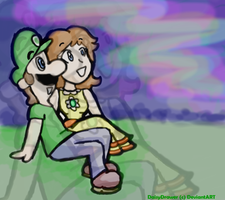 Luigi X Daisy - Nothern Lights by DaisyDrawer