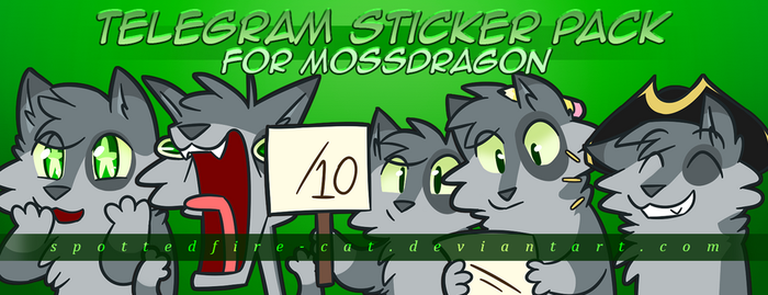 MossDragon Telegram Stickers -Commish- by Spottedfire-cat