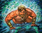 Aquaman Rising from the Waves by KwongBee-Arts