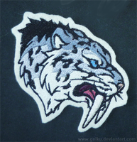 Embroidered Smilodon patch - Grey by goiku